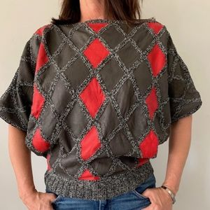 Vintage Handmade Leather and Acrylic Sweater